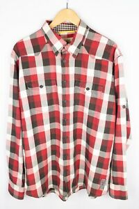 Camel Active Men Casual Shirt Red Check Cotton Modern Fit size XXL