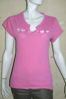 BERENICE Taille L - 40 Superbe haut top tee shirt manches courtes rose femme