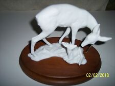 """VINTAGE KAISER DEER and FAWN FIGURINE COMPLETE WITH BASE, """"MINT"""" WITH TAGS"""