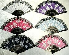 New Black Lace Rim Color Roses Asian Chinese Japanese Hand held Folding Fan Hot!