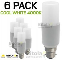 NEW 6 x MERCATOR 10W LED TUBULAR GLOBE B22 BAYONET - COOL WHITE 4000K PACK LAMP