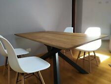 Table Solid Wood Oak with Knots, with Base Metal, Finished Wheat, Various Sizes