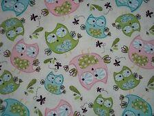 Handmade cotton crib sheet, Ecru with Pink,Aqua,Green Owls,Hearts/Neutral