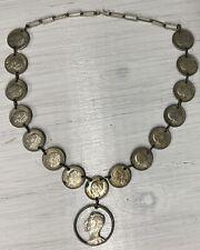 Niederlande Kette aus Münzen Münzkette Silber Schmuck 1944 25 Cent Gulden #32239