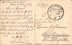 """Schiffspost 1917 - Marine Schiffspost No. 129 AK von """"SMS Stuttgart""""  (#9165)"""