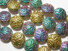10 Lovely Czech Glass Button Beads 14mm Vitrial AB2X and Gold