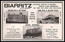 Publicité BIARRITZ  Pys Basque  Hotel Carlton Victoria vintage print ad 1914