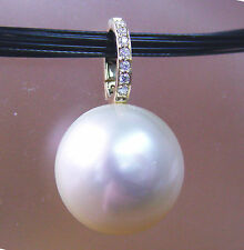 14.4mm!! WHITE SOUTH SEA PEARL +DIAMONDS+18ct YG PENDANT ENHANCER+CERT AVAILABLE
