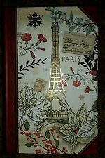 """NEW CHRISTMAS EIFFEL TOWER 6 1/2"""" Book Box with Gold Foil Embellishments"""