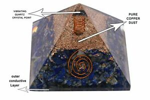 Super Big 90mm Orgonite Lapis Lazuli Orgone Pyramid EMF Protection Fang shui Rei
