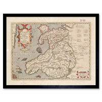 Hondius 1633 Welsh Latin Early Map Wales Cymru Wall Art Print Framed 12x16