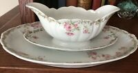 Vintage Bavaria Orleans Z S & Co Porcelain Large Platter And Gravy Boat