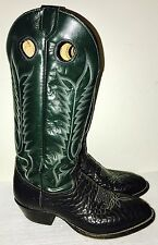 Vtg TONY LAMA Green Black Tall Buckaroo Western Cowboy Boots Men's 10.5 D Great