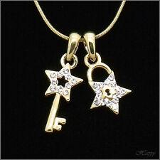 Star Key Lock Pendant Necklace Charm Chain Austrian Crystal Clear Jewel Teenage