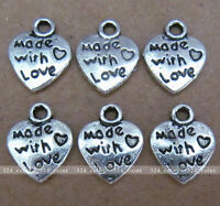 P028 20pcs Tibetan Silver Charm 2-sided Love Heart retro Accessories Wholesale