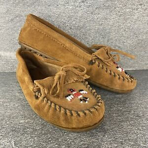 Minnetonka Thunderbird Softsole Brown Suede Beaded Moccasin 602 Shoes Size 11