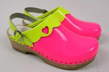 SVEN Heart Punch Neon Yellow Pink Patent Leather Wood Heart Clog Shoe Women 36 6