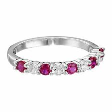 7/8 ct Created Ruby & White Sapphire Band Ring in Sterling Silver