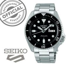 Seiko 5 Sports Black Dial Steel Bracelet Automatic Mens Watch SRPD55K1 RRP £250