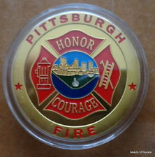 Pittsburgh Fire Department  24K GOLD  PLATED 40 mm  Challenge  COIN