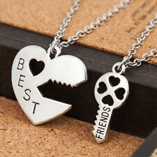 Classic Gift Love Heart Key Best Friends Letter Pendant Necklace BFF Jewelry
