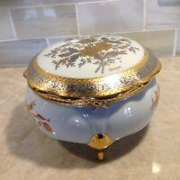 Vtg IMPERIAL LIMOGES Trinket Box Porcelain 22K Gold- Silver Rimmed Lid & Flowers