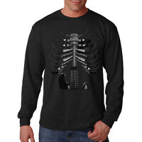 Amped Up Guitar Skeleton Skull Rock Music Lovers Long Sleeve T-Shirt Tee