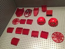 Lego 17 Parts / Windshields / Space Ship / Red Translucent / Car / Vehicle