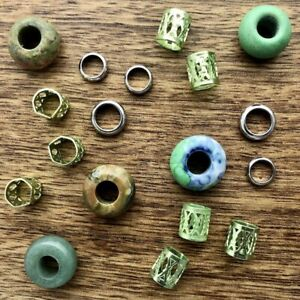 Set of 20 Green Gemstone Dreadlock Beads 6mm/7mm Hole (1/4 - 9/32 Inch) Jasper