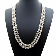 White Freshwater Pearl Drop Pearl Necklace Beaded 120cm Long Chain Rope Bead-UK