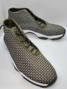 ‼️ AIR JORDAN FUTURE Olive Green Canvas Basketball Shoes Size 10 Mens 656503-305