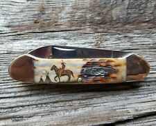CASE XX CANOE KNIFE COLOR SCRIMSHAW of a BRAVE RIDING A HORSE