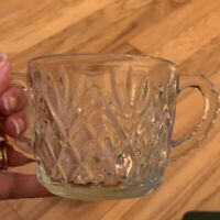 Diamond Cut Pineapple Pattern Sugar Bowl And Creamer