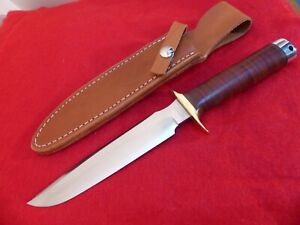 "Batk River USA stacked leather 154CM 12"" overall mint fixed blade knife & sheath"