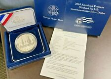 2010 Veterans Disabled for Life Proof silver Dollar,  BOX W/ COA, 90% silver