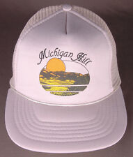Vtg Michigan Hill Hat-Gray-Rope Bill-Trucker-Snapback-Lake Sunset Sunrise
