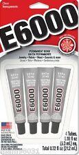 Craft Glue / Adhesive E6000 CLEAR PERMANENT Bond ~ 4 Pack .18 Oz Mini Tubes