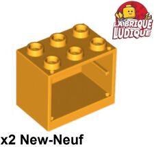 Lego - 2x Container coffre box cupboard 2x3x2 bright light orange clair 4532 NEW