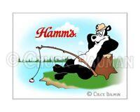 Fridge Magnet Hamm's Beer Bear Fishing sky cartoon bear mascot bar art decor