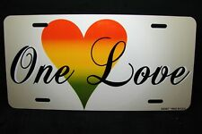 ONE LOVE, BOB MARLEY METAL NOVELTY  LICENSE PLATE FOR CARS ONE WORLD