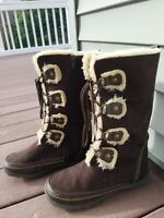 NINE WEST GIRLS BROWN TAN SUEDE FUR KNEE-HIGH BOOTS YOUTH SZ 3