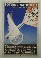 AFFICHE ANCIENNE LOTERIE NATIONALE LE FLAIR DE L' ARTILLEUR 1940