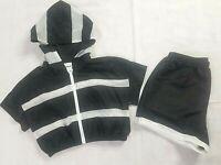 Fashion Nova Sport Jacket Short Set Black White Mesh Women's Large Workout Wear