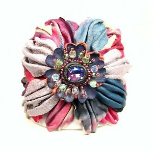 Adjustable Genuine Leather Flower Cuff Bracelet-Faceted Crystal Glass Stone