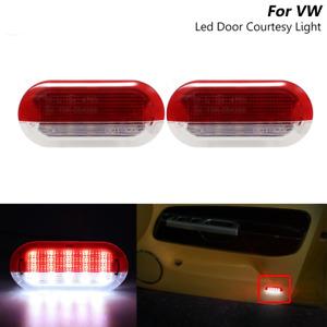 LED Red + White Door Courtesy Warning Lights For Skoda Octavia Seat Toledo Leon