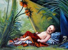 Stunning Beautifull masterpiece Original Modern sleeping baby Young royal lily