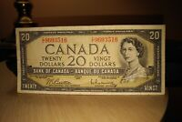 1954 $20 Dollar Bank of Canada Banknote ZE9693516 F-VF