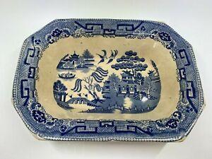 Antique T Phillips Staffordshire Blue Willow 9.5 x 6.5 vegetable bowl Burslem