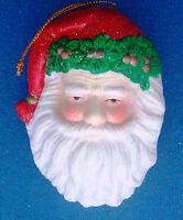 "porcelain Christmas ornament 4"" Santa Claus head glittered"