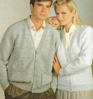"Ladies Mens Classic Cardigan/Jacket Knitting Pattern DK 32-46"" with pockets  619"